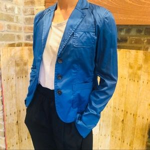 Cobalt Blue Sateen Blazer Jacket Size 4 Club Monac